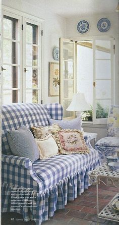 Blue and white checked gingham fabric