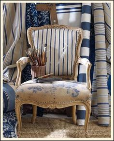 Cottage Touches - The Cottage Market | In the cottage world you basically can't go wrong by combining many different patterns and designs as long as there is a common thread…this chair by Ralph Lauren shows on how true this is!