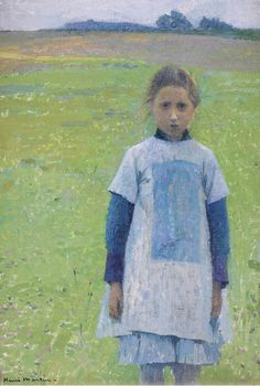 """Young Girl in the Field"" by Henri Martin. French Impressionist Painters, Impressionist Landscape, Modern Impressionism, Henri Fantin Latour, Toulouse, Figure Painting, Painting & Drawing, Palette Verte, Henry Martin"