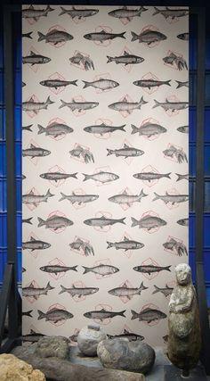 Fishes In Geometrics by Florent Bodart — Shop Animal Wallpaper, Elle Decor, Designer Wallpaper, Geometric Shapes, Animals Beautiful, Fun, Walls, Wallpapers, Shop