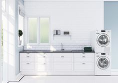 Vaskerom - Kjøkken fra Epoq - Kjøp hos Elkjøp! Stacked Washer Dryer, Washer And Dryer, Laundry Room Inspiration, Mudroom, Double Vanity, Washing Machine, Home Appliances, Home Decor, Laundry Room