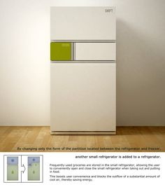 Shift Refrigerator aims to save energy by minimizing the outflow of cool air.