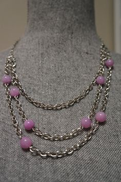 Periwinkle Purple Bead and Silver Layered Necklace by Links & Locks, $20.00
