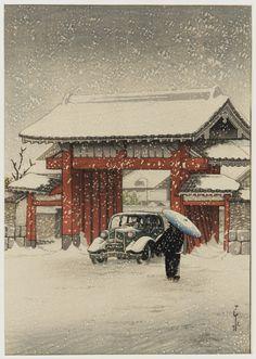 tartnouveau:  The Great Gate, Shiba, in Snow, 1936 Kawase Hasui