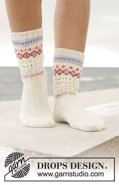 Relaxing in Reykjavik Socks - Knitted socks in DROPS Flora or DROPS Fabel. Piece is knitted top down with Nordic pattern. Size 35 to 43 - Free pattern by DROPS Design Baby Patterns, Knitting Patterns Free, Free Knitting, Baby Knitting, Free Pattern, Crochet Shawl Diagram, Crochet Socks Pattern, Knit Crochet, Crochet Patterns
