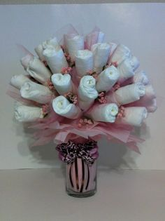 Pamper Me With A Diaper Bouquet- Perfect for a hospital gift! #diaper #bouquet