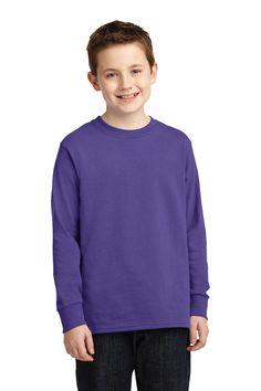 Port & Company Youth Long Sleeve 5.4-oz 100% Cotton T-Shirt. PC54YLS Purple