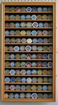 Amazon.com: LARGE 108 Military Challenge Coin, Poker Chip Display Case Holder, with Glass Door (COIN2-OA): Toys & Games