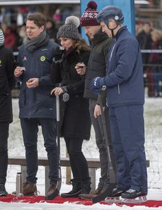 Kate Middleton Photos - Catherine, Duchess of Cambridge and Prince William, Duke of Cambridge visit the Stockholm bandy team Hammarby IF where they will learn more about the popularity of the sport during day one of their Royal visit to Sweden and Norway on January 30, 2018 in Stockholm, Sweden. The Duchess drank some wine and handed out cups of hot chocolate to the players and both of them had turns at shots on goal. The royal couple also sampled a non-alcoholic drink called 'Glogg' a…