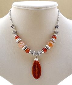 Fire Crackle Agate Pendant Necklace Agate by BigSkiesJewellery