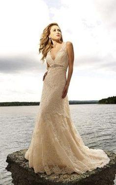 Ärmellos Meerjungfrau Perlenbesetztes bodenlanges Brautkleid mit Applike