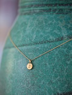 ONE Charm Tiny Initial Necklace in 14k Gold Vermeil by annekiel