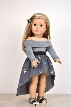 Long Sleeve Off The Shoulder Sweater 18 inch doll clothes COLOR Dark Grey Listing includes one sweater only! The outfit is professionally sewn with interior edges serged/finished. Doll top and shoes are not included. This outfit is American Girl Doll Costumes, American Girl Doll Room, Custom American Girl Dolls, American Girl Doll Pictures, American Doll Clothes, Ag Doll Clothes, Grey Clothes, Ballet Clothes, Doll Clothes Patterns