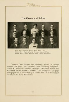 Athena yearbook, 1915. The staff of The Green and White weekly newspaper at Ohio University. :: Ohio University Archives