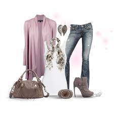 purple tail shirt blue ripped jeans brown purse brown shoes tan scarf