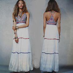 Barato 2016 Mulheres Verão Bordado Hippie Boho Partido Branco Vestido de Praia Vestido Longo Maxi, Compro Qualidade Vestidos diretamente de fornecedores da China: 2016 Mulheres Verão Bordado Hippie Boho Partido Branco Vestido de Praia Vestido Longo Maxi