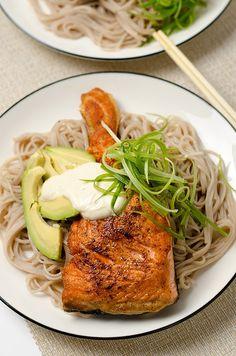 Crispy Salmon with Soba Noodles and yogurt Sauce | Omnivore's Cookbook