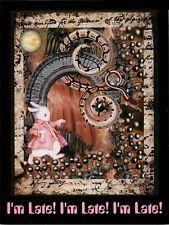 Alice in Wonderland White Rabbit I'm Late Postcard by Janiece Senn