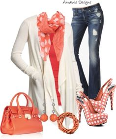 """Love the coral polka dot shoes - """"Seeing spots"""" by amabiledesigns ❤ liked on Polyvore by catotushek by Rashelle Martinez"""