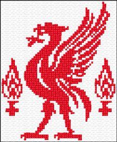 Bilderesultater for liverpool strikkeoppskrift Cross Stitch Calculator, Cross Stitch Kits, Cross Stitch Designs, Cross Stitch Patterns, Knitting Charts, Knitting Patterns, Crochet Patterns, Liverpool Logo, Chart Design
