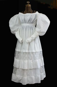 1830s extant sheer white gown.  I need a gown like this for the Jane Austen festival!