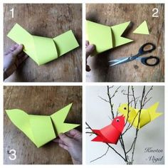 Knot bird made of cardboard strips free instructions - Origami İdeas Kids Origami, Origami Paper, Diy Paper, Paper Crafts, Bird Paper Craft, Paper Fish, Diy For Kids, Crafts For Kids, Unicorn Diy