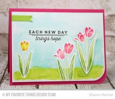 Spring Tulips stamp set and Die-namics, Blueprints 22 Die-namics - Sharon Harnist #mftstamps