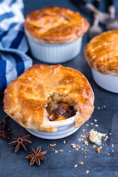 A twist on my blog's most popular recipe: Vietnamese Beef Stew. Make the stew in a slow cooker and top with store bought puff pastry to make these delicious pot pies – perfect comfort food.