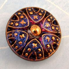 Czech Glass Button Blue Pink Gold 27mm With Pendant by FabBeads