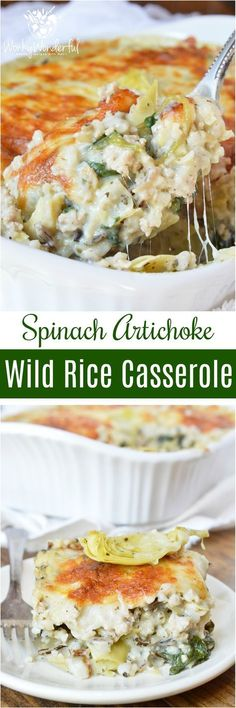Turkey Spinach Artichoke Wild Rice Casserole is perfect for those busy weeknights. This family dinner recipe is nutritious and full of flavor! #TurkeyAllYear ad