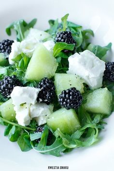 salad with melon, blackberries, and feta cheese