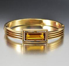 Antique Topaz Gold Bangle Bracelet Art Deco Hinged by boylerpf