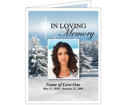 Funeral Memorial Cards : Powder Funeral Program Card Templates