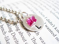 stamped charm necklace, girls, personalized, butterfly crystal, pink, birthday, flower girl.