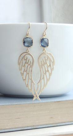 Dark Blue Glass, Gold Textured Wings Filigree Earrings. Wedding Bridal Jewelry…