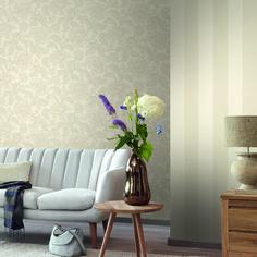 Rasch Textil Amira 13 - Große beige Blüten und breite Streifen wirken modern und schlicht im Wohnzimmer.