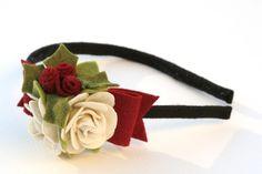 christmas holiday headband- felt flowers and holly. $16.00, via Etsy.