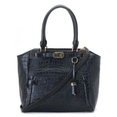 Michael Kors Large Blake Black Crocodile-embossed Leather Satchel