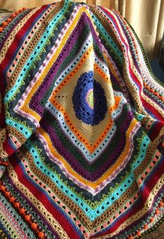 Stitch Sampler Afghan in Scraps  Crocheted Throw by jenrothcrochet