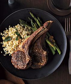 Lamb Chops With Roasted Asparagus and Bulgur Pilaf from realsimple.com #myplate #protein #grain #vegetables