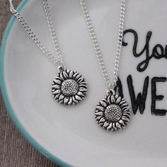 Silver Sunflower Necklace, Sunflower Charm Pendant, Flower Charm Necklace, Summer Pendant, Flower Jewellery Pretty silver plated necklace with silver Sunflower charm, the charm is a Tierracast charm so is made from lead free pewter. The chain is available in 14, 16 or 18 length and
