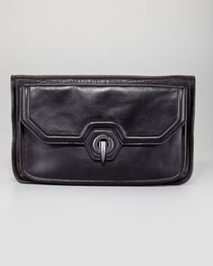 Eve Fold-Over Clutch Bag, Black - Neiman Marcus
