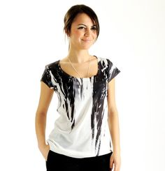 NEW ARRIVAL Feather Black Women T shirt one side by nikacollection, $35.00
