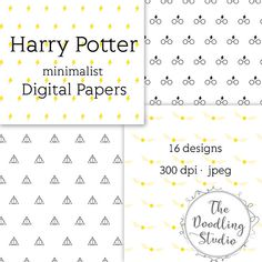 Harry Potter minimalist Digital Papers  jpeg 300 dpi  16 designs #harrypotter #digitalpaper #harrypotterdigitalpaper #minimalist #graphicdesign #digitaltexture #goldensnitch