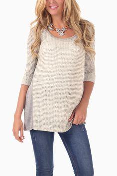 Ivory-Grey-Knit-3/4-Sleeve-Maternity-Tunic #maternity #fashion