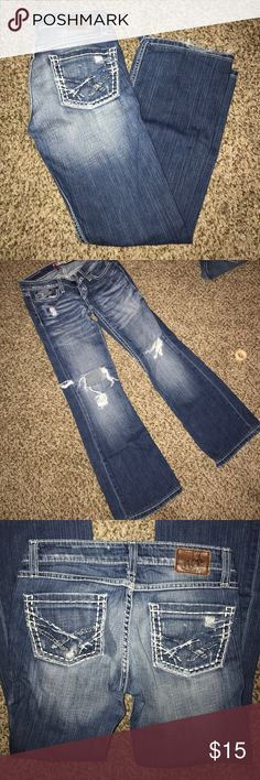 """BKE destroyed Stella boot jeans 24 short Bke stella boot, size 24, have been hemmed to 27""""inseam  (I'm 5'0"""" for reference), super cute just too small now BKE Jeans Boot Cut"""