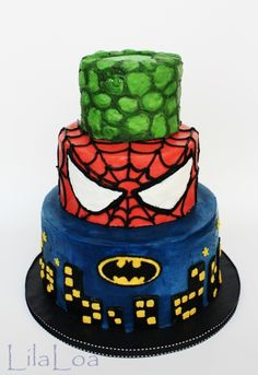 SuperHero cake By LilaLoa on CakeCentral.com--Like the Spiderman mask layer...maybe stacks of superhero masks