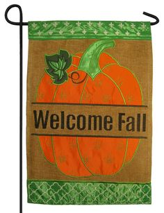 Here is a fall garden flag to welcome the autumn season with some Fleur de Lis flair. This beautifully embroidered and appliqued flag features a large, fall leaf spangled Fleur de Lis with graceful sc