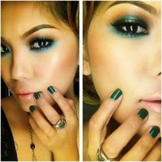 We love a bold emerald green eyeshadow look! Click for product suggestions to dupe MUA Pamela Jabonete's look!