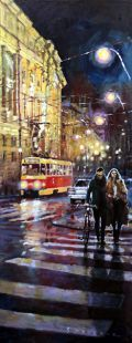 Gallery of artist Yuriy Shevchuk: Oil Cityscape Paintings, Prague Masarykovo Nabrezi Evening Walk